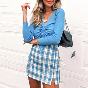 plaid cut skirt women 2020 summer autumn vintage cara mini skirt retro checkboard blue skirt zipper bodycon split girl