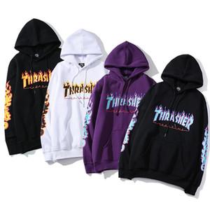THRASHER gli uomini e le donne Coppia più velluto modello Fiamma hoodie Lettera stampato hoodie Hip hop allentato pullover nuovo all'ingrosso di stile