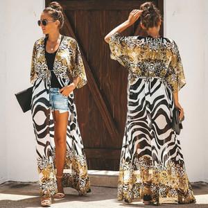 2020 Yeni Plus Size Kadınlar Mayolu Kapak Ups Kadınlar Bikini Up için şifon Cover Up Plaj Çiçek Elbise Beach Kimono coverups