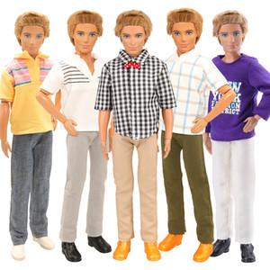 Moda hecha a mano 7 Artículo / Set muñeca de niños Juguetes = 5 azar Ken Ropa + 2 zapatos de la muñeca para Ken muñecas DIY cumpleaños LJ200828 Presente