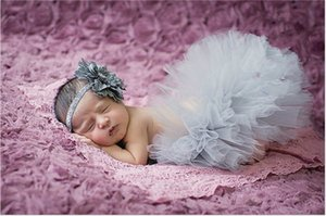 Grey Color Newborn Photography Props Sweet Design Photo Props with Headband Baby Infant Costume Outfit Princess Tutu Skirt Summer Dress