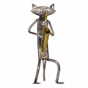 Inicio Simple regalo de ornamento de la estatuilla de oficinas moderno Crafts pequeño escritorio escultura del hierro del gato del arte hecho a mano decorativo de la sala de estar N3Aw #
