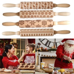 Embossing Rolling Pins ECO Wooden Christmas Engraved Carved Embossing Rolling Pin Dough Stick Baking Kitchen Pastry Tool 35*4CM GWF1992