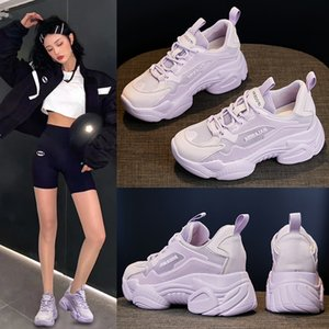 2092020 Autumn Genuine Leather Korean Style Casual Sneakers Women's Inner Height-increasing Shoes Breathable Thick Bottom Daddy Shoes Small