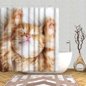 사랑스러운 고양이 애완 동물 개 3D 샤워 커튼 예술 개 인쇄 욕실 3D 샤워 커튼 방수 폴리 에스터 직물 목욕 커튼