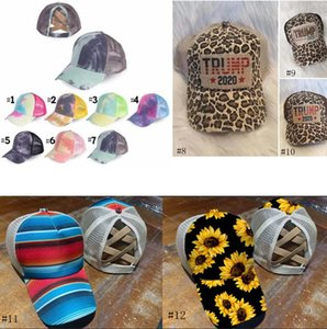 12style Cross Hat Ponytail Baseball Cap Criss Cross Washed Cotton Trucker Caps Sunflower Leopard Hats Snapback Tie-Dye Mesh Cap GGA3655