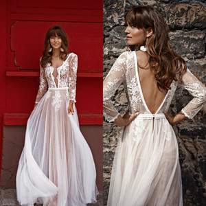 Beach Boho Wedding Dresses Illusion V Neck Lace Appliques A Line Bridal Gowns Bohemia Plus Size Backless Wedding Dress robe de mariée