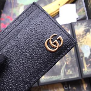 Nuevo titular de la tarjeta con las mujeres mujeres de la caja de la marca de cuero auténtico negro cuadrado monedero de la cartera de cuero clip de dinero 436022 nave de la gota