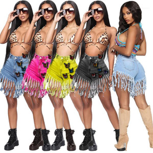 Shorts with Pockets Casual Butterfly Ladies Clothing Womens Slim Soild Color Shorts Tassel Designer Jeans Male