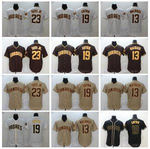 Hommes 2020 Baseball 13 Manny Machado Jersey 23 Fernando Tatis Jr 19 Tony Gwynn Pinstripe Brown Blanc Blanc Home Away Flexbase Cool Base