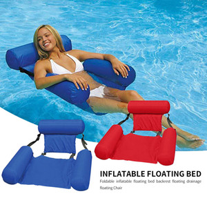 PVC Swimming Inflatable Bed Foldable Float Lounge Air Hammock Lazy Water Sports Air Mattress Bed Chair Floating Row Beach For Summerr Summer