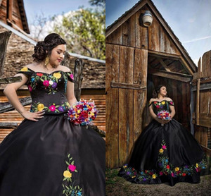 Black Ball Gowns Sweet 16 Dresses Mexican Theme Floral Embroidered Off The Shoulder Beaded Black Satin Vestidos De Quinceanera Dress Long