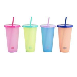 Temperatura Colour Sensing Modifica succo della tazza di caffè tazze Pp materiale trasparente Bicchiere in plastica con coperchio riutilizzabile aspirazione tubolare Sports 5 5HB B2