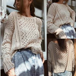 New Style for Autumn and Winter Womens European and American Casual Solid Color round Neck Loose Hollow Knitted Sweater