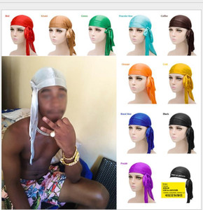 New Fashion Mens Satin Durags Bandana Turban Wigs Women Silky Durag Headwear Headband Pirate Hat Hair Accessories