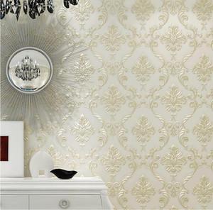 3D Рельефный Дамаск Нетканые обои Рулон Европейский стиль Спальня Гостиная ТВ фон обои Золото Home Decor Без клея