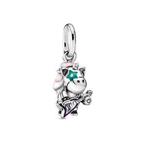 ALE 925 Sterling Silver Bruno o pingente Fit Colar Pulseira Pandora Charms Unicorn Punk Banda Dangle Beads Música para fazer jóias DIY