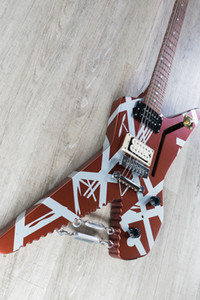 Edward Van Halen Striped Series Shark Satin Urethane Burgundy Silver Stripes Electric Guitar Chrome Eye Hooks w  Turnbuckles, Braid Wire