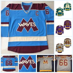 Cosida 66 Gordon Bombay Gunner Stahl Mighty Ducks ondas de hockey camiseta personalizada con doble costura Número Nombre MUY RARO SIN RESERVA Jersey