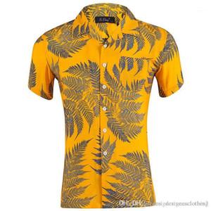Neck Männer Shirts Blatt gedruckte kurze Hülsen-lose Mens Urlaub Tops Sommer Hawaii Revers