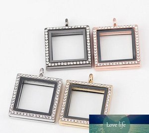New Arrival 30*30mm Square Photo Frame Magnetic Glass Memory Floating Charms Living Locket Fine Stainless Steel Jewelry Different Colors