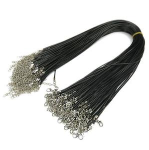 Black Wax Leder Snake Halskette 1,5 cm / 2,0 cm Schnur Schnur Seildraht Extender Kette mit Hummerverschluss DIY Modeschmuckkomponente in Großteil