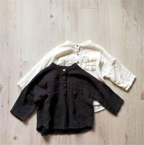 DB INS Korean Japan Style Kids Girls Shirts Linen Cotton Shirts Plain Blank Tops Front Buttons Designer Little Girls Blouses Children Tees