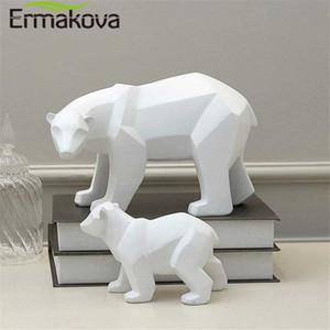 Escultura geométrica ERMAKOVA Oso Polar Bear Resina estatua de moda del ornamento de escritorio abstracto moderno de figurines