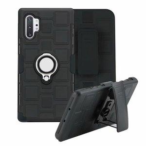 Darbeye Koruyucu Kılıf Kickstand Kemer Klip Kılıf Yüzük Manyetik Araç Montaj için Samsung Galaxy Note 10+ Artı Not 8 Not 9