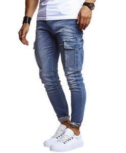 Autumn Winter Men Jeans Men Hip Hop Washed Casual Sports Jeans Pencil Pants Fashion Micro Elastic Zipper Denim Trousers