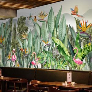 Custom Mural Wallpaper Hand Painted Tropical Rain Forest Southeast Asia Plant Leaf Flowers And Birds Fresco Restaurant Wallpaper