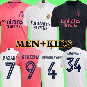 camisetas de real Madrid 20 21 HAZARD BENZEMA JOVIC MILITAO soccer jersey 2020 2021 kids VINICIUS JR ASENSIO camiseta de fútbol niños MARCELO ISCO camisa de futebol