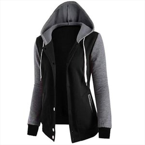 2020 new Autumn Winter patchwork Women Fashion Buttons Hoodies Sweatshirts Hooded Long Sleeve Clothing jacket Pocket Casual coat