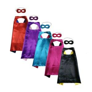* Цвет 70см Plain 70см Superhero Косплей Мыс с Маска 2 слоя Satin косплей костюм Хэллоуина косплей Мыса