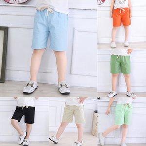 Le coton longueur cheville enfants plage et pantalons et shorts en lin pantacourt de garçons d'été des filles de vêtements pour enfants pantalons de plage L0R4E