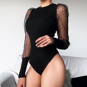 Mesh Sexy длинного рукав Bodysuit Женщина Осень тело Топы Женщина O Шея Тонкого горошек Черный Белый 2020 Bodysuit