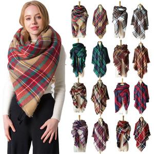 Damas térmicas bufanda Otoño-Invierno lateral doble imitación de la cachemira Impresión colorida tela escocesa plaza raya de la bufanda de la borla clásico mantón VT1551