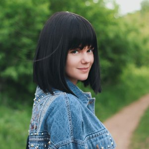 Bon Bob Style Short Straight Hair Black Natural Color Synthetic Full Wig Near Beautiful Female Wig
