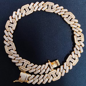 wholesale Hop Prong Setting AAA CZ Stone Bling Iced Out 3:1 Square Cuban Miami Link Chain Chokers Necklaces for Men Rapper Jewelry