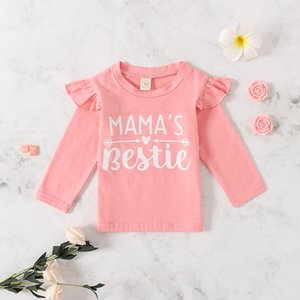 Baby Girls Cotton Pink colour Long sleeved letter printed tshirt children spring autumn top 4pcs lot