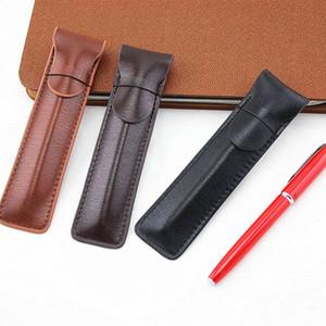Lápices de casos plumas estilográficas retro bolsa de una sola escritura Holder Suministros almacenamiento 1Pc