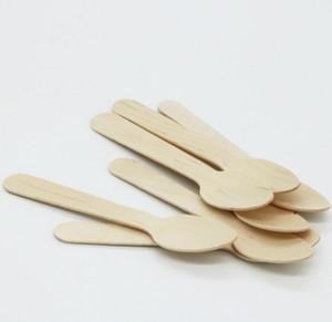 يمكن التخلص منها خشبي ملعقة الآيس كريم ملعقة خشب الحلوى سكوب حفل زفاف أدوات المائدة مكملات مطابخ DHF1543 الآمن