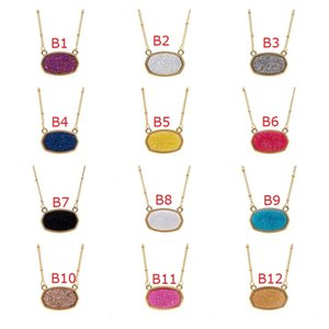 New Resin Druzy Drusy Necklace Oval Hexagon Gold Plated Collar Jewelry for Women Party Christmas Gift