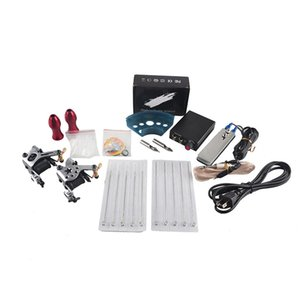 Complete Tattoo Gun Kits 2 Machines Guns Sets 10 Pieces Needles Power Supply Tips Grips Tattoo Guns Kits for Beginner Wholesale