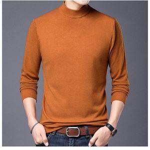 Suéteres para hombre Primavera Otoño Color Sólido PLLOVERS Negocio de suéter Llegada Moda Slim Fit Media Turtleneck Tamaño 4XL MZM065