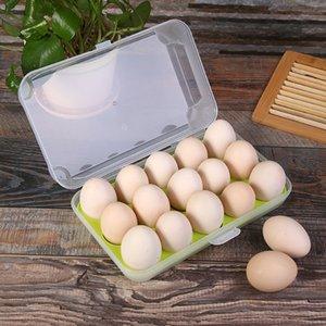 15 sostenedor del huevo Cajas Caja de almacenamiento para la bandeja Huevos Frigorífico envase de la caja de almacenamiento de cocina Claro Alimentos Huevo Cocina Organizador