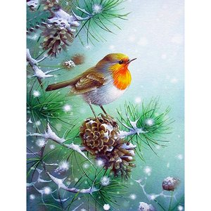 Diamante Pintura Cruz Mosaic Bordado praça cheia pássaro Diamante do Natal do inverno do ponto Decoração para casa
