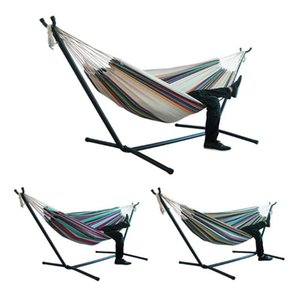 1pc Portable Hammock Outdoor Hammock Garden Sports Home Travel Camping Swing Canvas Stripe Hang Bed 150 x200cm