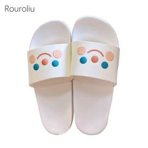 Rouroliu 2020 femmes d'été non-Slip Chaussons Flip Flops Mignon intérieur Accueil Chaussures Femme Cartoon Diapositives