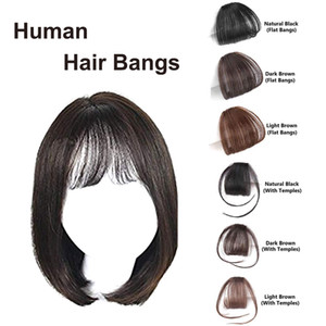 Clip in Bangs Real Human Hair Medium Brown Bangs One Piece Clip in Fringe Hair Extensions for Women